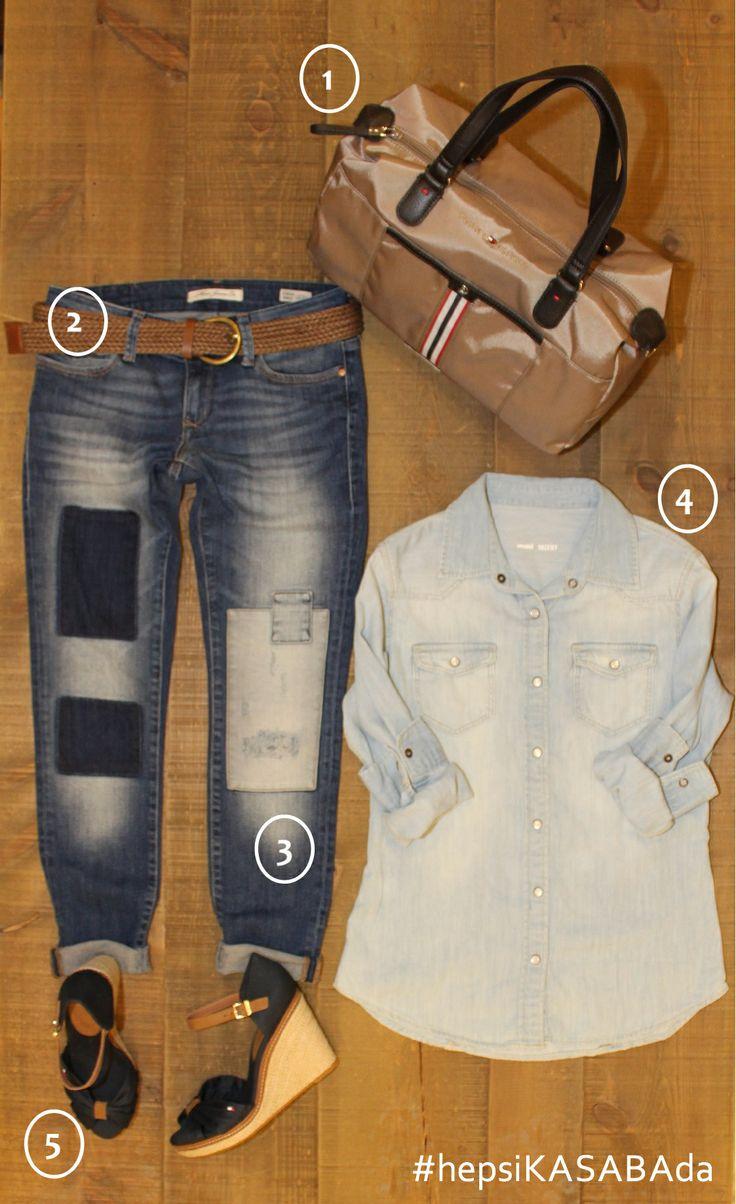 #KASABAhaftasonustilönerisi  TREND ALARMI❗️❗️❗️ Kot pantolon  üzerine, farklı renk tonundaki kot gömlekler bu sezon çok moda  #hepsiKASABAda❗️ 1. TOMMY HILFIGER Çanta    189,90 TL 2. MAVİ Kemer                           29,99 TL 3. MAVİ Pantolon                      129,99 TL         [model: Serena Ankie] 4. MAVİ Gömlek                          99,99 TL 5. TOMMY HILFIGER Ayakka   209,00 TL  #moda #fashion #trend #sokakmodasi #streetfashion #streetstyle #sokakmodasıKASABAda @Tommy Hilfiger