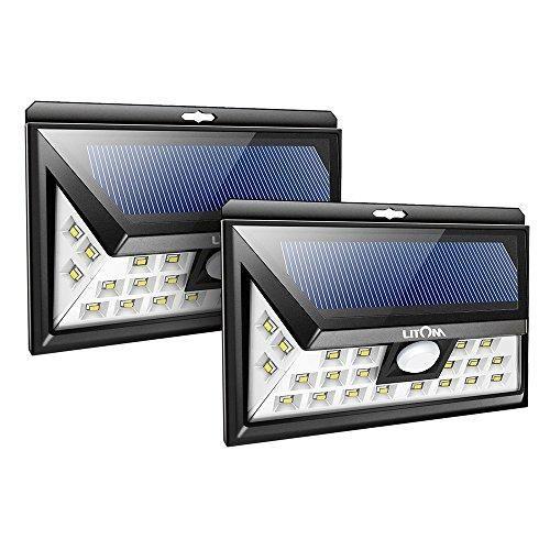 Oferta: 36.89€ Dto: -54%. Comprar Ofertas de Litom 2 Unidades de Lámparas Solares Exterior Impermeable 526 lúmenes con 24 LEDs y Sensor de Movimiento de 8M en 120°, 2 Pac barato. ¡Mira las ofertas!