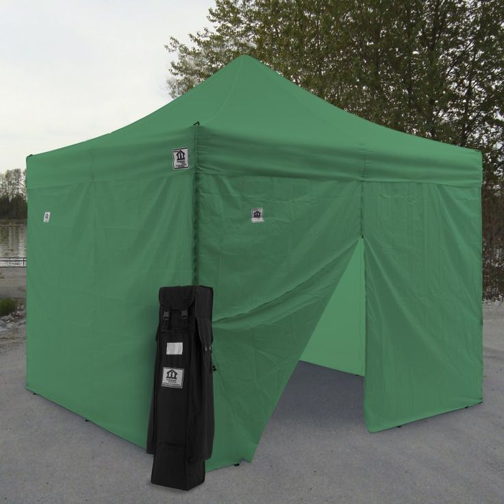 Impact Canopy AOL 10x10 ft. Ez Pop Up Canopy Tent Instant Canopy Aluminum with Wheeled Roller Bag and Sidewalls Kelly Green - AOLKITKG