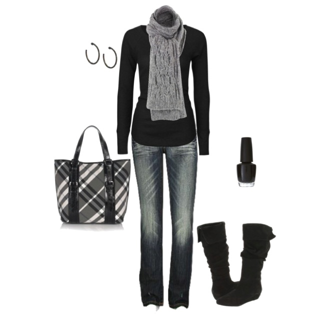 Black turtleneck, jeans, gray scarf & black boots make a great fall
