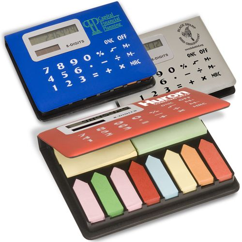 The CALCULATOR is a math essential. Even more useful with a set of STICKY NOTES inside.