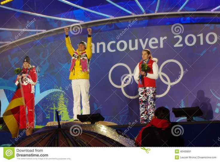 Gold medal ceremony for Alpine skiing ladies slalom during 2010 Winter Olympics competition in Whistler, Canada. Gold Germany Maria Riesch, Silver Austria's Marlines Schild, and Bronze Czech Republic Sarka Zahrobska