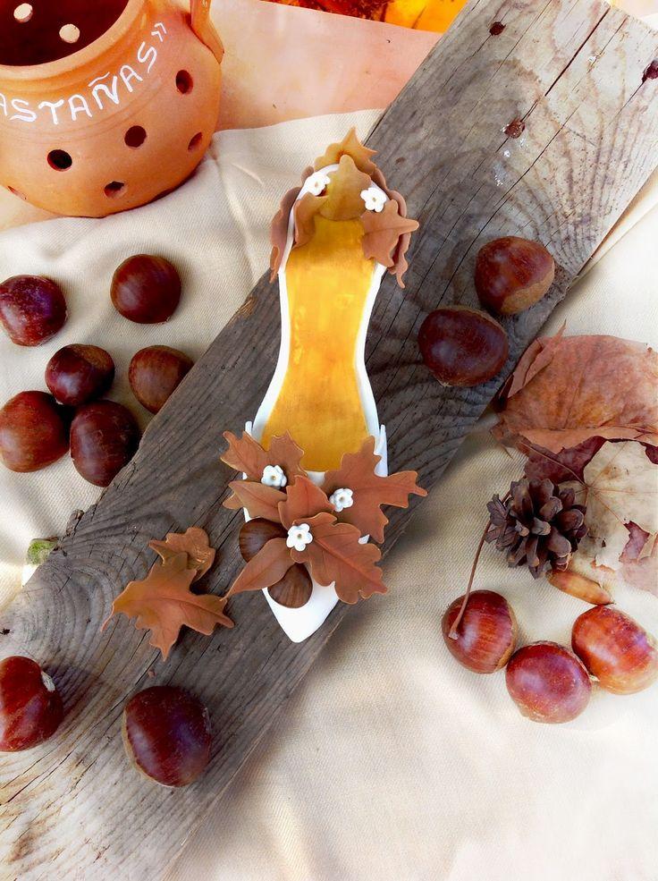 Autumn fondant shoe tutorial Topper for a cake