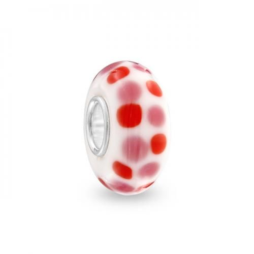 Bling Jewelry Pandora Compatible Pink and Red Polka Dot Bead