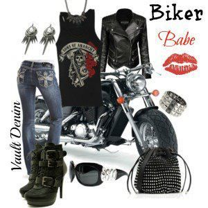 Sexy biker woman