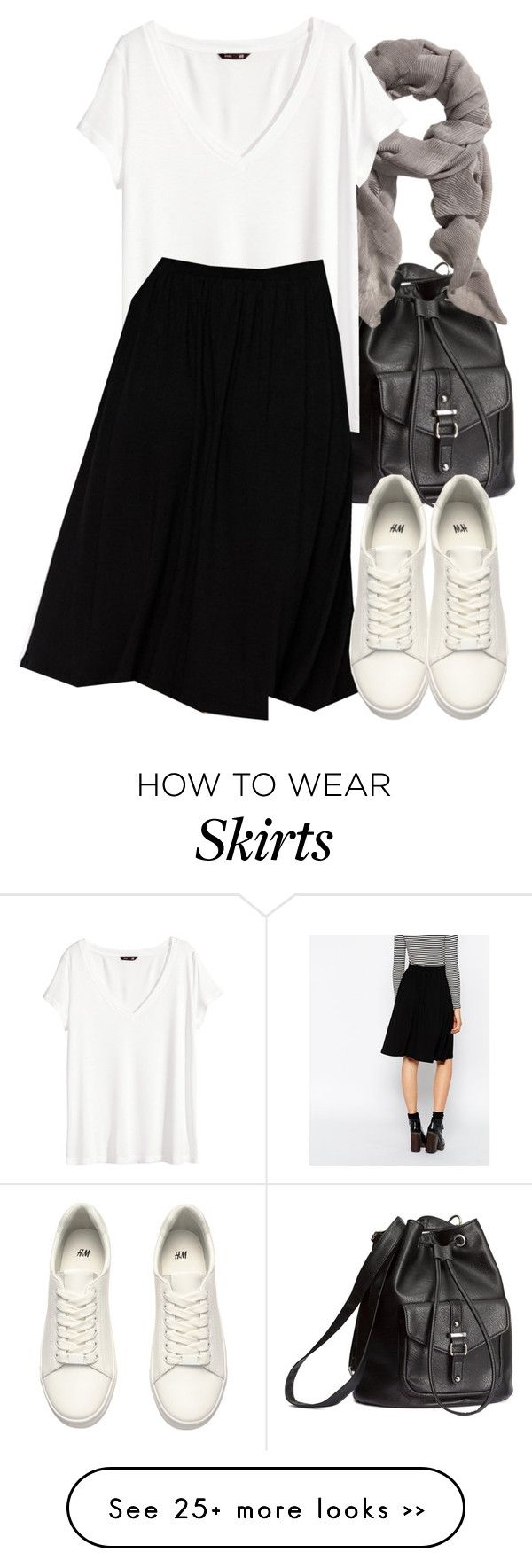"""Isaac Inspired Outfit with a Black Midi Skater Skirt"" by veterization on Polyvore featuring H&M and ASOS"