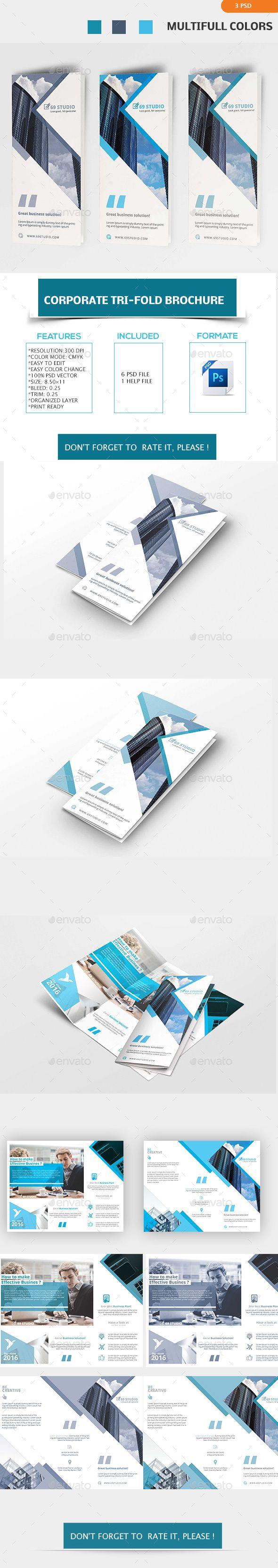 Corporate Tri-Fold Brochure Template PSD. Download here…