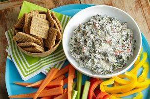 Caesar-Spinach Dip Recipe - Kraft Recipes -Creamy with sour cream and Caesar dressing, this cheesy spinach dip is sure to be a hit at your next party.