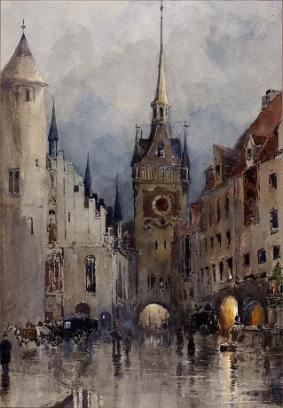 """Street Scene in Munich"", 1880, Ross Turner, watercolor and pencil on paper, sheet: 13 3/8 x 9 3/8 in. (33.9 x 23.7 cm), Smithsonian American Art Museum, Gift of Dr. William Henry Holmes, 1930.12.54"