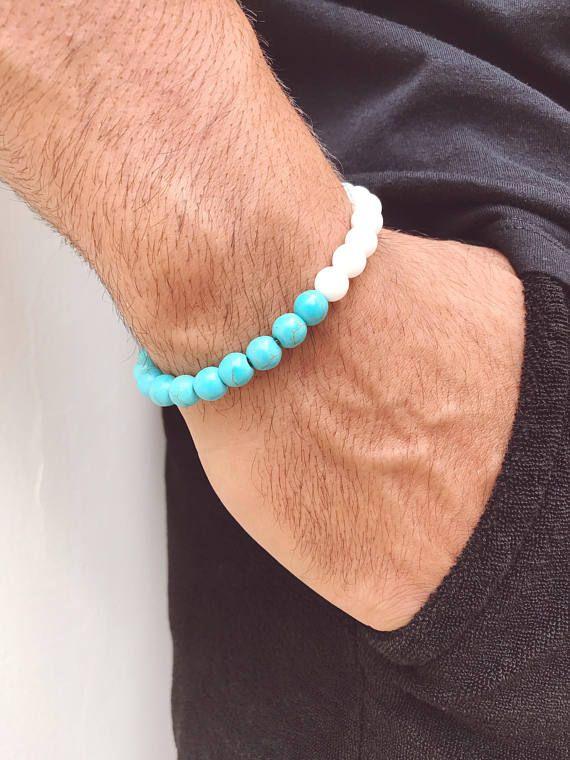 Men's Bracelet, Turquoise Bracelet, Turquoise Beads Bracelet Men, Positive Energy Bracelet, Gift for Him, Made in Greece.