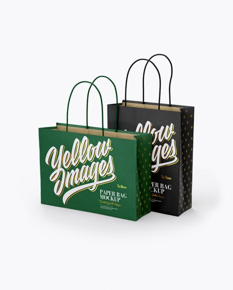 Two Paper Bags Mockup Half Side View