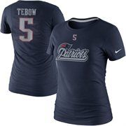 Nike Tim Tebow New England Patriots Ladies Player Name and Number T-Shirt