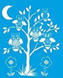 21cm x 17cm Flexibel Kunststoff Universal Schablone - Wand Airbrush Möbel Textil Decor Dekorative Muster Design Kunst Handwerk Zeichenschablone Wandschablone - Eulen Vögel Tiere Baum