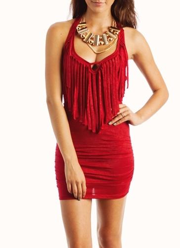 fringe halter mini dressDates Night Dresses, Minis Dresses, Halter Minis, Mini Dresses, Black Boots, Fringehalterminidress Red, Red Fringes, Fringes Halter, Halter Dresses