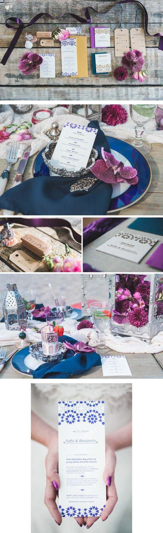 Marrakesch trouwstijl in letterpress! Save the date, bedanktkaarten, trouwkaarten, the end, persoonlijke stempel