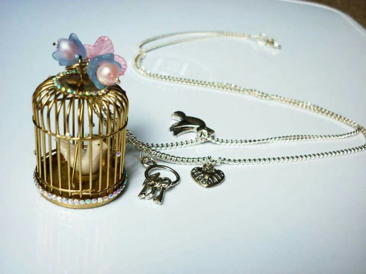 Crystal encrusted birdcage necklace,  available to buy at www.facebook.com/dreambirddesigns
