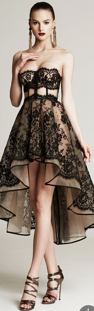 Cristina Savulescu AW 2015 2016 Feminine black lace high low gown with a vintage twist. So Glamorous, love it!