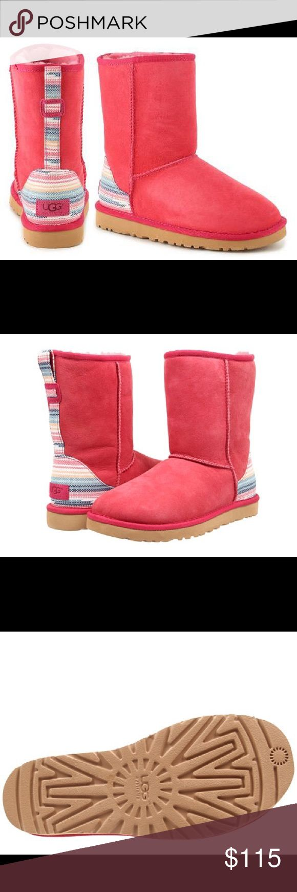 UGG CLASSIC SHORT SERAPE Size 7 . Sunset red  with stripe pattern on heel and up the back. UGG Shoes