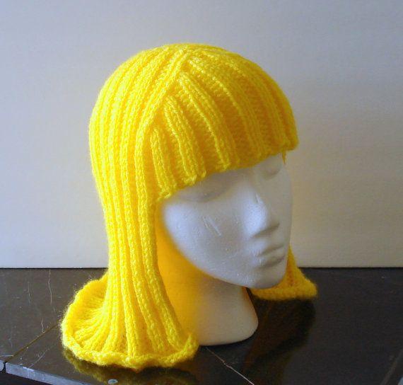 Bright Yellow Hat Hair Knit Wig Yarn Wig by EtchedinTimeLLC, $25.00
