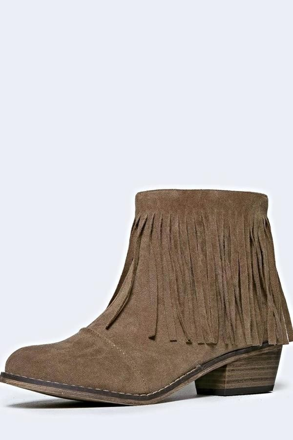 BRANDED Fringe Ankle Booties ($7)