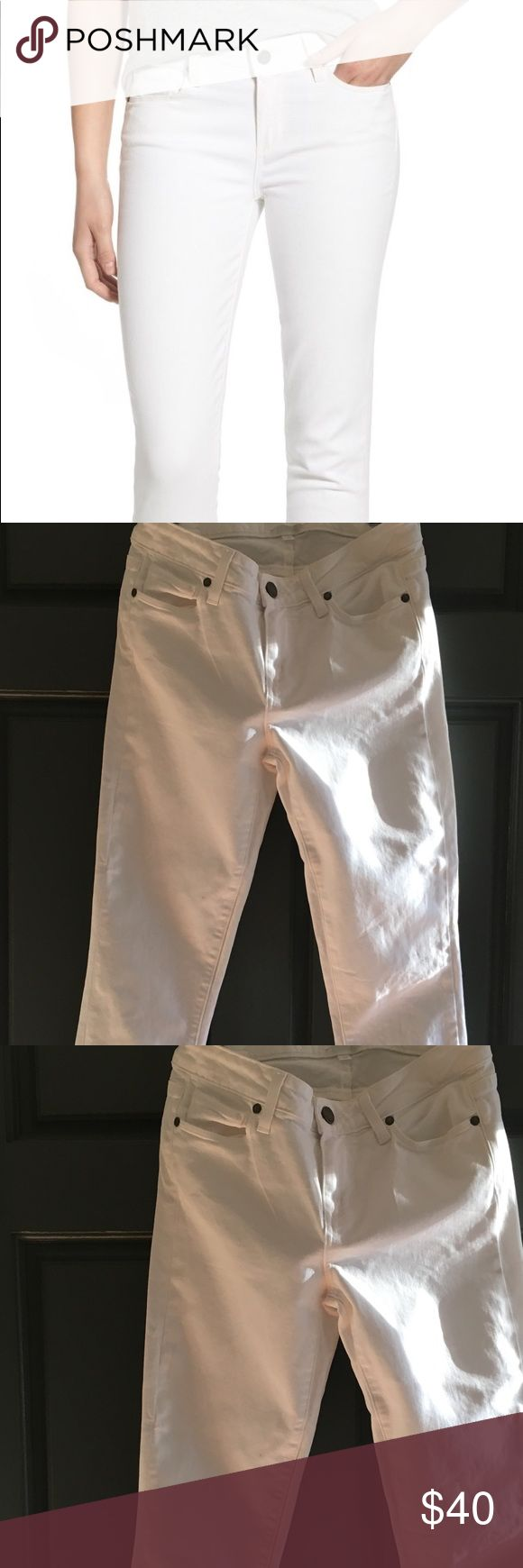 """Paige Jeans Paige """"Skyline Crop""""  five pocket denim in optic white. Absolutely excellent condition. Like new. Washed in cold water.... hung dry.  98% cotton, 2% elastane. Purchased at Nordstrom. On sale now at Nordstrom for $99. Paige Jeans Ankle & Cropped"""