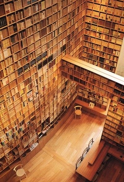 Library by Tadao Ando... (I imagine one reaches the books by flight, or simply by summoning the books down... Either way, amazing)