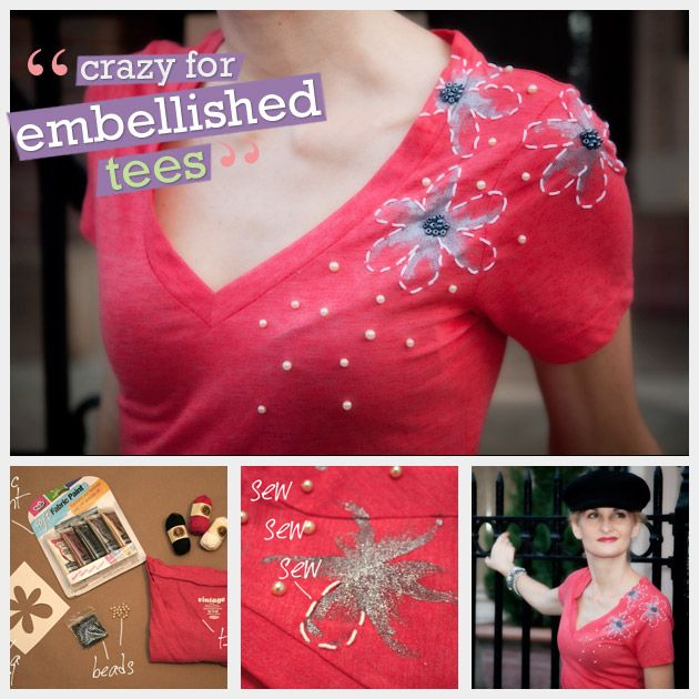 Create your own embellished t shirt with this simple and fun diy project. This t shirt has everything; hand painting, embroidery and beading.