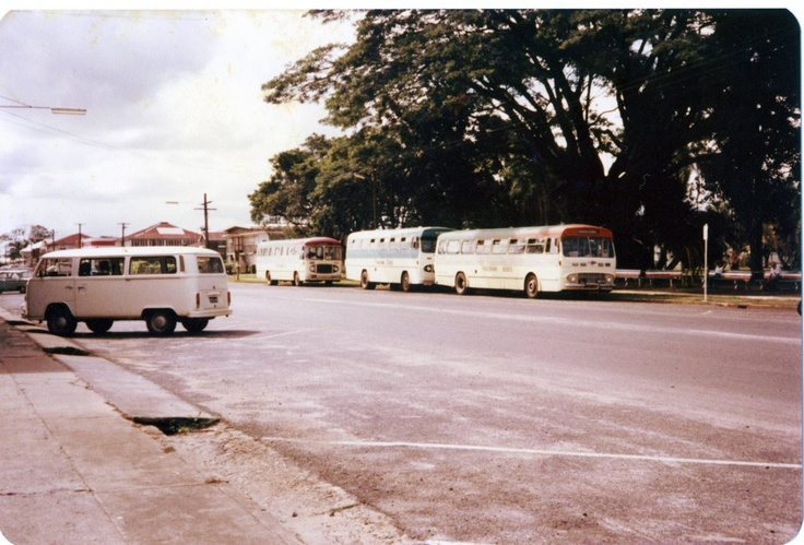 Ca. 1970 Panorama buses at  Bus Stop at Anzac Park Innisfail.