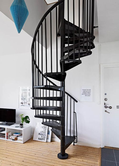 #fontanot #Civik Spiral staircase in Ingeniously Designed Two Floor Apartment With Decadent Accents