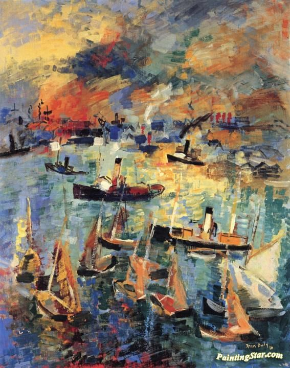 Le Havre Artwork by Jean Dufy Hand-painted and Art Prints on canvas for sale,you can custom the size and frame