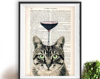 Fantasie kat afdrukken afdrukken kwekerij Kid kamer Art Print dier schilderij poster woordenboek gerecycleerd boek afdrukken verjaardag cadeau voor hem Hare