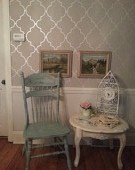 pretty duck egg blue distressed press back oak chair. chabby chic, french victorian style $45.50, via Etsy.