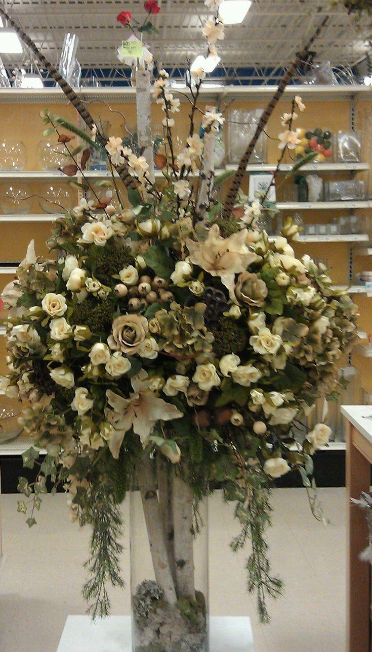 Large floral entryway wedding foyer centerpiece  Hotel floral arrangement Michaels craft 1035
