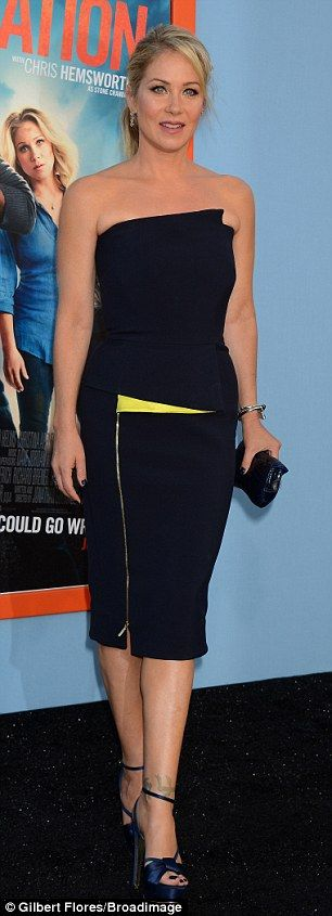 So sophisticated: Christina Applegate looked demure in a two-piece pencil dress. She plays...