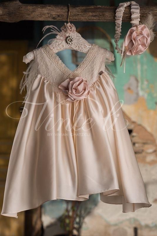 b3d111e040d Σατέν φόρεμα βάπτισης Vinte Li 2710 με κορδέλα για τα μαλλιά, annassecret,  Χειροποιητες μπομπονιερες