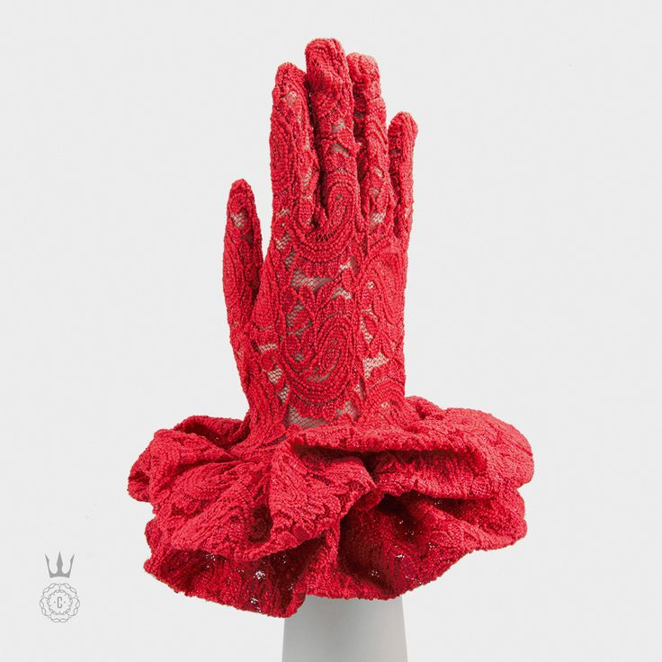 Capitol Couture - a pair of red lace gloves Effie Trinket wouldn't live without