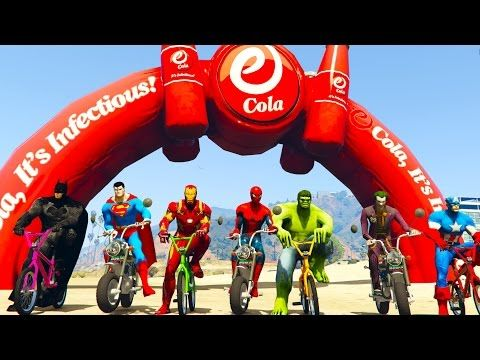 COLORS SCOOTER And BMX Bikes Extreme Jumping With SuperHeroes Spiderman Cartoon For Kids - YouTube
