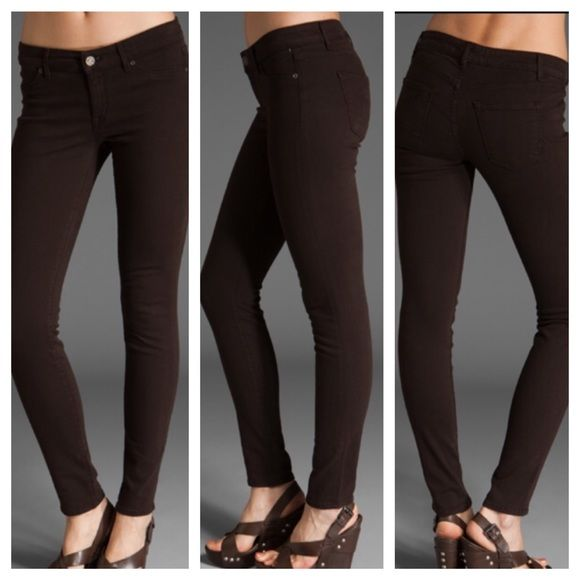 Rich & Skinny Brown Skinny Jeans These jeans are amazing!  They hug you in all the right ways and enhance your rear quite well!  Dark brown in color, but is best represented in the last picture. In very good condition! Rich & Skinny Jeans Skinny