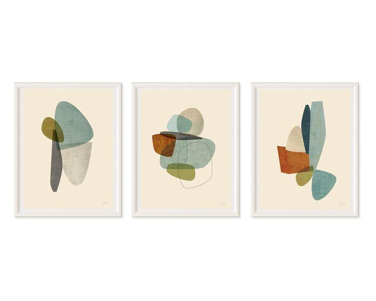 Wall Art Set, Mid Century Modern Art, Contemporary Art, Abstract Art Print, Modern Art Print, Art Print Set of 3 by JennyGrayArt on Etsy https://www.etsy.com/ca/listing/244200103/wall-art-set-mid-century-modern-art