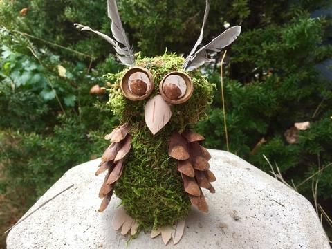 Handmade Owl made with moss, Pine cones, Birch bark and feathers. Free shipping.