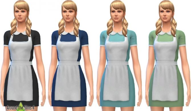 Waitress Amp Maid Dress With Apron At Around The Sims 4 Via