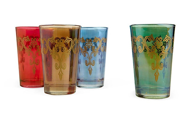 Set of 4 Glasses, Assorted Colors on OneKingsLane.com: Colors 29, Drinks Glasses, Beautiful Colors, One King Lane, Moroccan Bazaars, Assort Colors, 29 Sets, Products, Pretty Sets