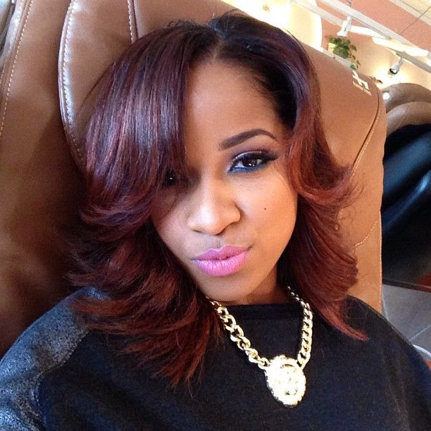 Toya Wright S New Reddish Brown Hair Color And Cut