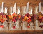 Fall Burlap Silverware Holders Leaves & Flowers, Set of 4