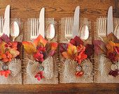 Fall Burlap Silverware Holders Leaves & Flowers, Set of 4