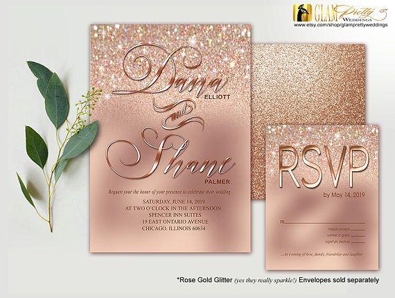 This Elegant Invitation Features Rose Gold Diamond Dust Glitter