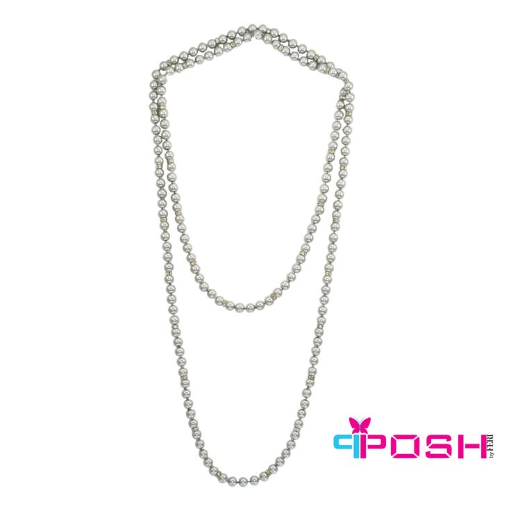 """- Long strand of imitation pearls - Light pewter colour - Dimension: 57.49"""" double loop"""