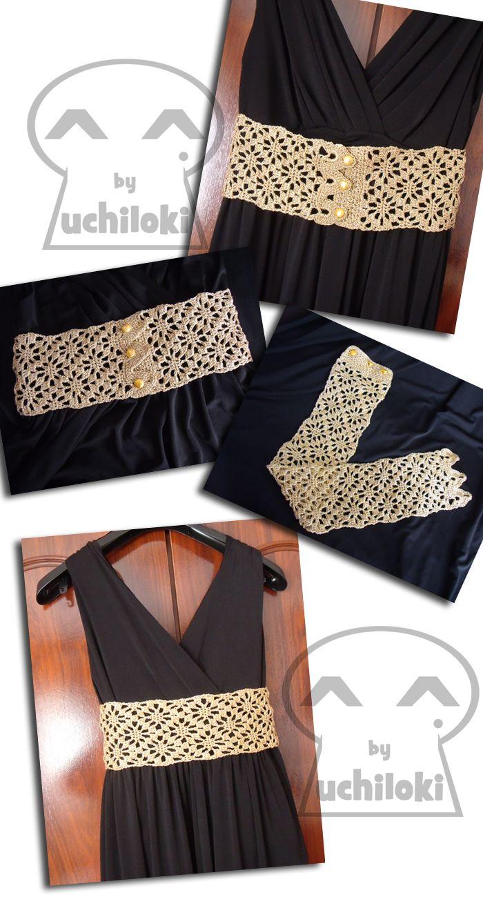 By Uchiloki: Cinturón Dorado Crochet Punto Araña