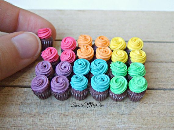 Dollhouse Miniatures Fancy Cup Cake Colourful Rose Topping