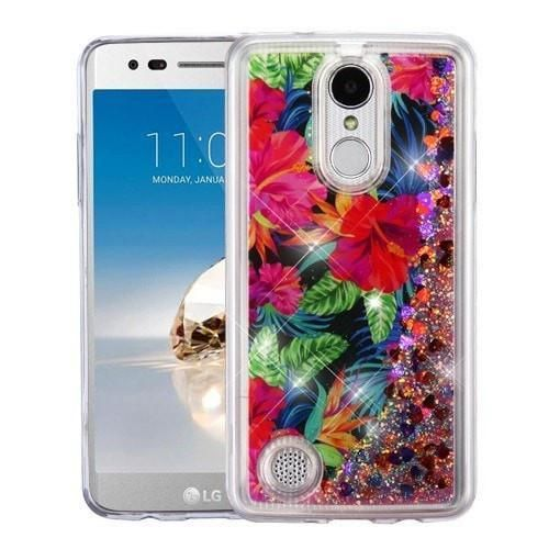 Quicksand Glitter LG Aristo / Phoenix 3 / Fortune Case - Electric Hibiscus